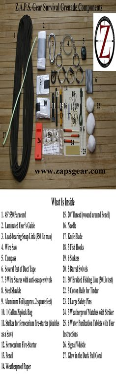 Here is what you get in a Z.A.P.S. Gear Survival Grenade. Contents updated as of January 2015. Grenades available at www.zapsgear.com