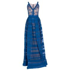 Elie Saab Blue Lace and Stripe Skirt Gown ❤ liked on Polyvore featuring dresses, gowns, elie saab, striped dress, elie saab dresses, elie saab evening gowns, lacy dress and blue stripe dress
