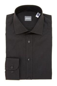 Giorgio Armani Collezioni Solid Dark Gray Tonal Stripe Long Sleeve Woven Shirt