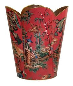This is a handmade decoupage wastebasket with optional tissue box. There are three different wastebasket styles available. There is the 11