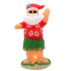 home accents holiday 6 ft inflatable animated santa dances the hula 86105 the - Home Depot Inflatable Christmas Decorations