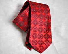 Does he have his Christmas tie yet? Mens Wide Tie Vintage Satin Christmas Red & by ArmorOfModernMen, $15.95