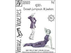 1930's Beach jumpsuit & jacket B39 PDF sewing | Etsy