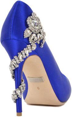 Badgley mischka Royal Satin Embellished Pump Evening Shoe in Blue (Iris Blue)