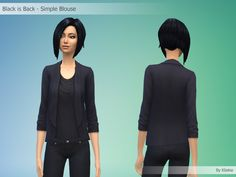 Black is Back - Simple Blouse By Kliekie #Download #Sims4 #TS4 #MM #CC #MMCC #TS4MM #TS4Finds #CustomContent #Sims4CC #Clothing #Casual #Generic #Women #Female #YoungAdult #Adult #Elder #Black