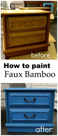 How to paint Faux Bamboo laminate furniture.
