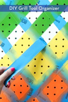 Learn how to make this awesome DIY colorful geometric grill organizer. (thanks @3mdiy !) #scotchblue #3mpartner