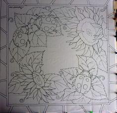 Остальное: шейный платок с подсолнухами и букашками. (Холодный батик, шёлк, роспись, цветы)