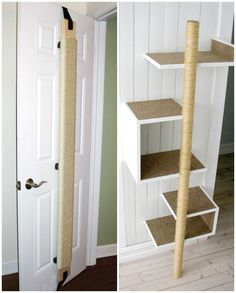 Cats Toys Ideas - Grattoir pour chats - Ideal toys for small cats Diy Pour Chien, Diy Jouet Pour Chat, Cat Climbing Wall, Big House Cats, Cat Gym, Sheila E, Diy Cat Tree, Cat Hacks, Cat Towers
