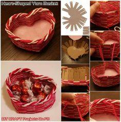 Panier coeur carton et laine diy