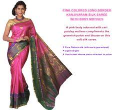 Pink Colored Long Border Kanjivaram Silk Saree