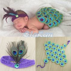 Peacock Style Baby Photography Props Costume Outfit Newborn Toddler Cape with Feather Headband Crochet Animal Set-in Hats & Caps from Apparel & Accessories on Aliexpress.com