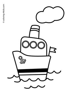 Steamship Steamboat Coloring Pages For Kids Transportation Boat