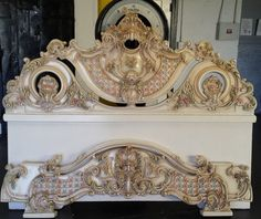 King Vintage Hollywood Regency Solid Rococo by VintageRescues Royal Furniture, Classic Furniture, Furniture Styles, Paint Furniture, Luxury Furniture, Louis Xvi, Rococo, Baroque, Carved Beds
