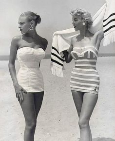 1954 bathing suits, women with great style and great bodies that are not starving themselves and they certainly are not fat!!