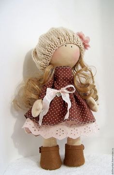 Купить Шарлотта. - коричневый, коллекционная кукла, кукла ручной работы, интерьерная кукла, большеножка, Снежка