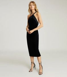 Karla Navy One Shoulder Velvet Dress – REISS