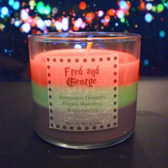 Fred and George Scented Candle: Peppermint Humbugs, Fizzing Whizzbees Harry Potter Candles, Harry Potter Theme, Harry Potter Fandom, Candle Making, Scented Candles, Hogwarts, Peppermint, Nerdy, Gifts