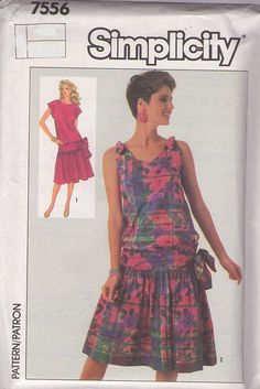 MOMSPatterns Vintage Sewing Patterns - Simplicity 7556 Vintage 80's Sewing Pattern SASSY Drop Waist Hip Bow, Gathered Skirt New…