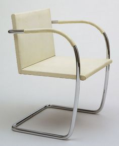 Brno Chair Ludwig Mies van der Rohe (American, born Germany. 1886–1969)  1929-30. Chrome-plated tubular steel and calf parchment, 30 7/8 x 21 5/8 x 28 3/8 (78.4 x 54.3 x 72.1 cm). Manufactured by Berliner Metallgewerbe Joseph Müller, Germany. Gift of Philip Johnson. © 2013 Artists Rights Society (ARS), New York / VG Bild-Kunst, Bonn