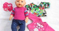 Ompeluohje ja kaava Baby Bornin paitaan. Muokkaa kaavasta liivi tai takki nukelle. Sissi, Baby Born, Onesies, Couture, Knitting, Clothes, Patterns, Fashion, Outfits