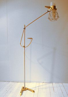 brass & white floor lamp carl hagerling