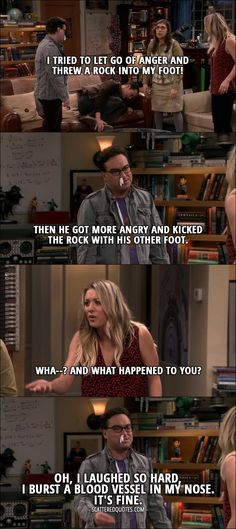 Quote from The Big Bang Theory 10x09 │  Sheldon Cooper: I tried to let go of anger and threw a rock into my foot! Leonard Hofstadter: Then he got more angry and kicked the rock with his other foot. Penny Hofstadter: Wha–? And what happened to you? Leonard Hofstadter: Oh, I laughed so hard, I burst a blood vessel in my nose. It's fine.