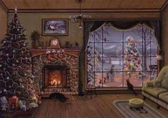 Snowy fireplace window Christmas