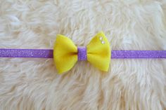 Cute spring and Easter headband! Bright Yellow Felt Bow on a Frosted Purple by sparkleandspiceshop