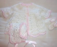 OOAK CROCHET MATINEE SET FOR REBORNS OR BABY GIRL 0-3 MONTHS NEW HAND MADE
