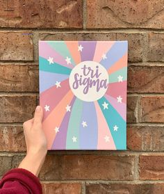 Custom Hand-Painted Rainbow Sorority Canvas You can choose which sorority you would like to have on the canvas. For reference, the example canvas in the photos is an All CamCanvasCo products are hand-painted, so there may be some small imperfections. Sorority Canvas Paintings, Simple Canvas Paintings, Small Canvas Art, Cute Paintings, Mini Canvas Art, College Canvas Paintings, Big Little Gifts, Little Presents, Big Little Canvas