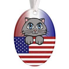 Patriotic Kitty Ornament