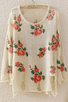 Apricot Long Sleeve Rose Print Sweater Our Price:$ 30.59