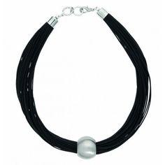 Brushed Rhodium Leather Necklace