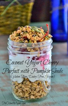 Coconut Yogurt Cherry Parfait with Pumpkin Seeds {Gluten-Free, Dairy-Free, Vegan} #glutenfree