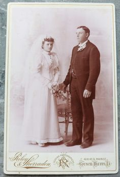 Victorian Antique Wedding Photo of Bride and Groom - Cabinet Card Photo. $8.95, via Etsy.