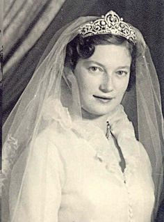 Princess  Josephine Charlotte of Belgium on her wedding day to the Grand Duke Jean of Luxembourg.