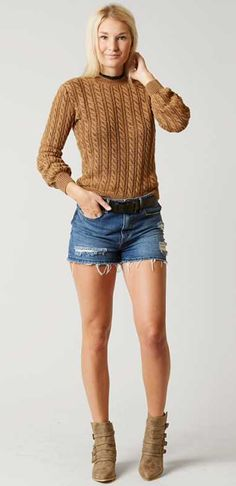 Back to School Outfits : Gilded Intent Cable Knit Sweater   Buckle