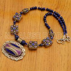"N1253 Nepalese Handmade Lapis Howlite Purple Necklace 19"" from Nepal by Eksha  #Eksha"