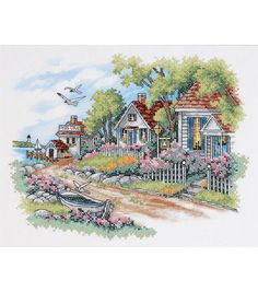 Dimensions Cottages By The Sea Stamped Cross Stitch Kit, 14 inch x 11 inch, Multicolor Cross Stitch House, Cross Stitch Kits, Cross Stitch Patterns, Cross Stitching, Cross Stitch Embroidery, Embroidery Patterns, Cross Stitch Landscape, Cottages By The Sea, Bargello
