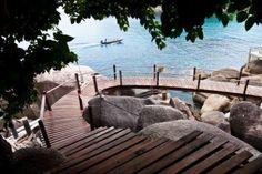 Wooden pathway at Koh Tao island Stock Photo