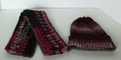 Handmade Red Multi Scarf with Matching Knit Hat by SnugableTouches, $15.00
