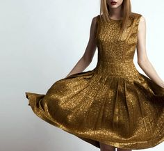 Gold Silk Cocktail Dress by Rochas