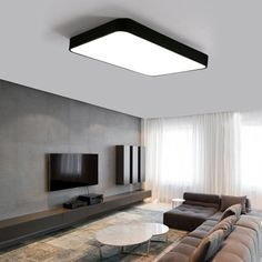 Modern Black Led Ceiling Lamp Living Room Kitchen Ceiling Lights Decor Home Lighting Acrylic Lampshade White Black Iron Modern Led Ceiling Lights, Kitchen Ceiling Lights, Led Ceiling Lamp, Ceiling Fixtures, Living Room Kitchen, Living Room Decor, Dining Room, Painel Tv Sala Grande, Modern Tv Wall