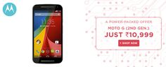 A Power Packed ‪#‎Offer‬ on ‪#‎MotoG‬ (2nd Gen) (16 GB) Rs.10,999 + EXTRA 10% OFF* With ‪#‎SBI‬ Cards