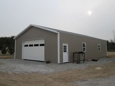 """Building Dimensions: 30' W x 50' L x 10' 4"""" H (ID#: 429) 30' Standard Trusses, 4' on Center, 4/12 Pitch, For More Details: http://pioneerpolebuildings.com/portfolio/project/30-w-x-50-l-x-10-4-h-id-429-total-cost-contact-us"""
