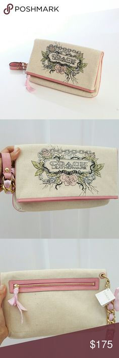 BN Coach Canvas Tattoo Clutch Coach?Tan Canvas & Metallic?Gold Glittered Tattoo Print?Fabric  Pink Leather Trim & Detail  12? Leather & Gold Chain Wrist Strap  Detailed Brass O Rings w/ Pink Intertwined Ribbon  Foldover Magnetic Snap Closure  Top Zip Closure with Pink Ribbon Pull  Slip Pocket under Foldover  Back Zippered Pocket w/ Pink Ribbon Pull  Coach Brass Hardware  Coach Pink Embossed Leather Hangtag  Tan Satin Interior Lining Coach Bags Clutches & Wristlets