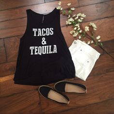 """Tacos & Tequila Tank Tacos & Tequila Black Tank! Loose Comfortable Fit! Black and White Lettering. 95% Rayon 5% Spandex. Made in USA! (NOT Victoria's Secret)  Sizes Available: S,M,L  ✨Use the """"Buy Now"""" or """"Add to Bundle"""" Button to select your size for Purchasing✨ Victoria's Secret Tops Tank Tops"""