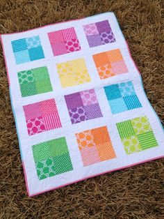 Happy Squares Four Patch Quilt on Etsy, $65.00