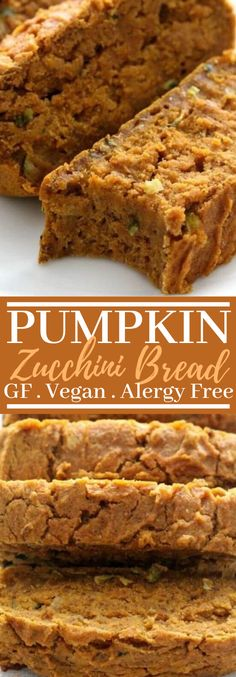 You realize that unbalanced period among summer and fall? You don't know how to dress, what produce to purchase . Pumpkin Zucchini Bread, Zucchini Bread Muffins, Gluten Free Zucchini Bread, Gluten Free Pumpkin Bread, Zucchini Bread Recipes, Healthy Zucchini, Sweet Breakfast, Vegan Breakfast, Breakfast Recipes